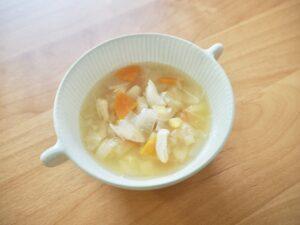 咀嚼を促す野菜たっぷりささみスープ
